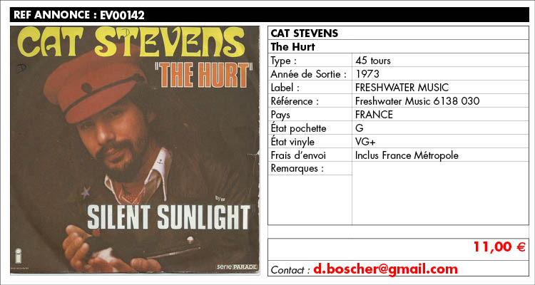 Cat Stevens, The Hurt, Freshwater Music 6138 030, www.estimvinyl.com