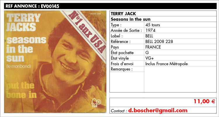 Terry Jack, Seasons in the sun, BELL 2008 228, www.estimvinyl.com