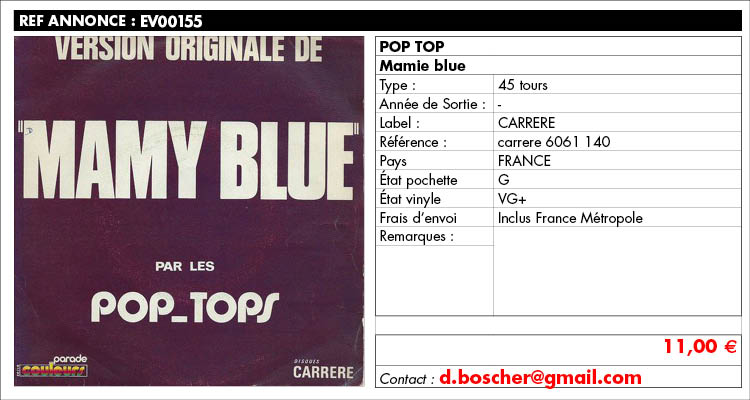 POP TOP, Mamie blue, carrere 6061 140, www.estimvinyl.com
