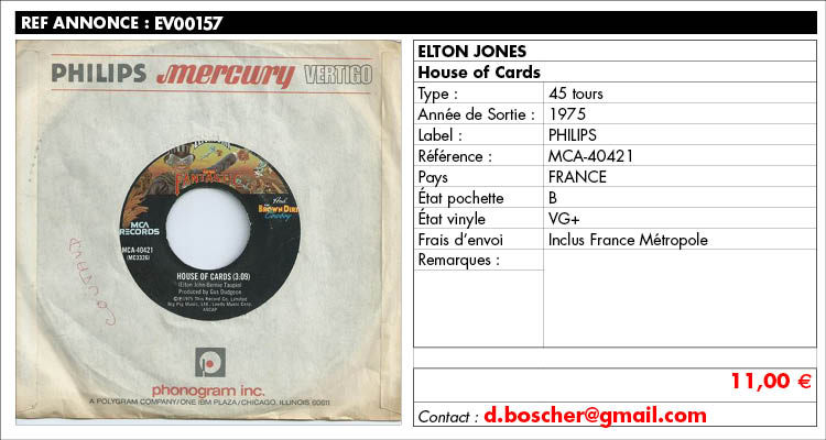 Elton Jones, House of Cards, Philips MCA-40421, www.estimvinyl.com