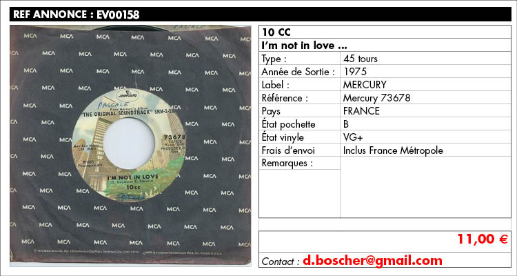 10 CC, I'm not in love, Mercury 73678, www.estimvinyl.com