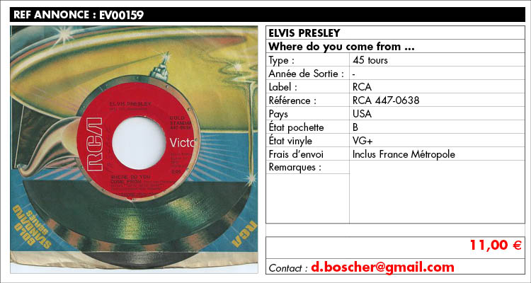Elvis Presley, Where do you come from, RCA 447-0638, www.estimvinyl.com