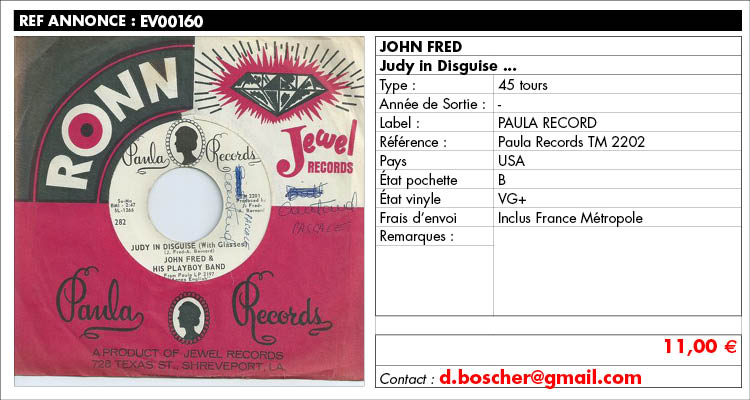 John Fred, Judy in Disguise, Paula Records TM 2202, www.estimvinyl.com