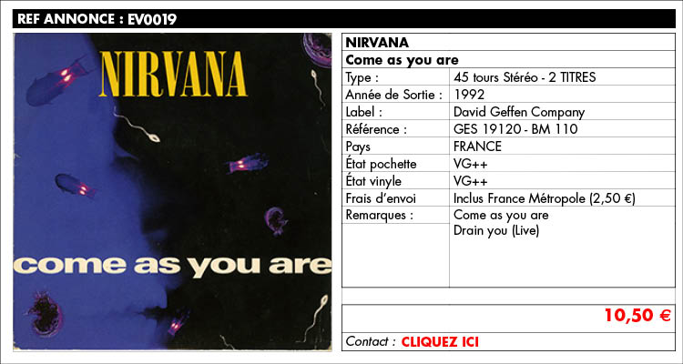 annonce.ev019, Nirvana, come as you are, www.estimvinyl.com