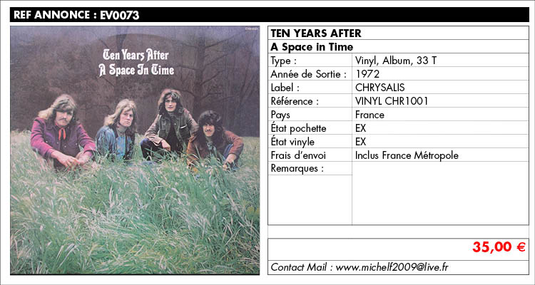 Ten Years After, a space in time,Chrysalis,CHR 1001, www.estimvinyl.com
