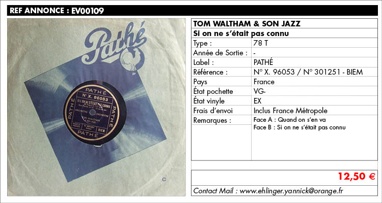 tom waltham & son jazz, Si on ne s'était pas connu, www.estimvinyl.com